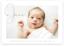 This is a white birth announcement magnet by Olivia Raufman called Chic Introduction with standard printing on magnet paper in magnet.