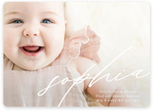 This is a white birth announcement magnet by Phrosne Ras called Modern Calligraphy with standard printing on magnet paper in magnet.