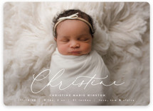 This is a white birth announcement magnet by Ekko Studio called Poetry with standard printing on magnet paper in magnet.