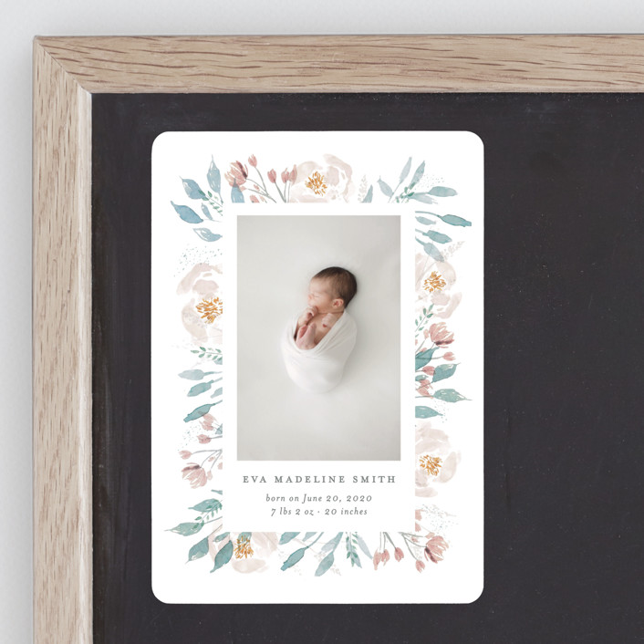 """""""Baby Bloom"""" - Birth Announcement Magnets in Periwinkle by Bonjour Paper."""