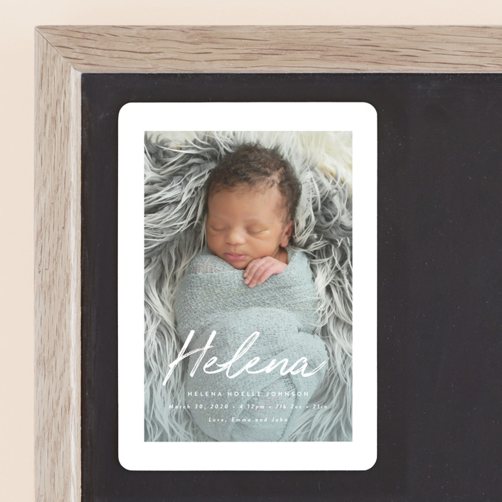 """""""Helena"""" - Modern Birth Announcement Magnets in Pearl by Basil Design Studio."""