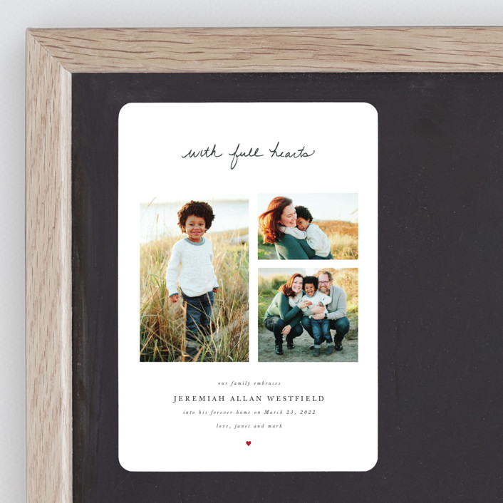 """""""With Full Hearts"""" - Birth Announcement Magnets in Charcoal by Basil Design Studio."""