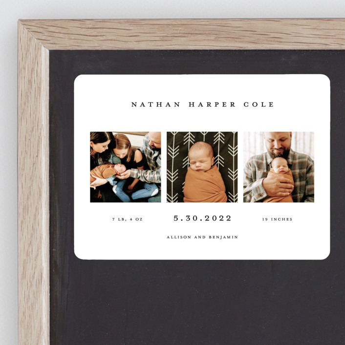 """""""Simple Birth Announcement"""" - Birth Announcement Magnets in Midnight by Kelly Williams."""