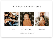 This is a black and white birth announcement magnet by Kelly Stewart called Simple Birth Announcement with standard printing on magnet paper in magnet.