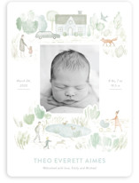 This is a green birth announcement magnet by Bonnie Davis called In the Park with standard printing on magnet paper in magnet.