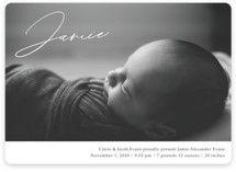 This is a grey birth announcement magnet by Rebecca Rueth called Jamie with standard printing on magnet paper in magnet.