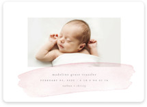 This is a pink birth announcement magnet by Jessica Maslyn called Soft Stroke with standard printing on magnet paper in magnet.