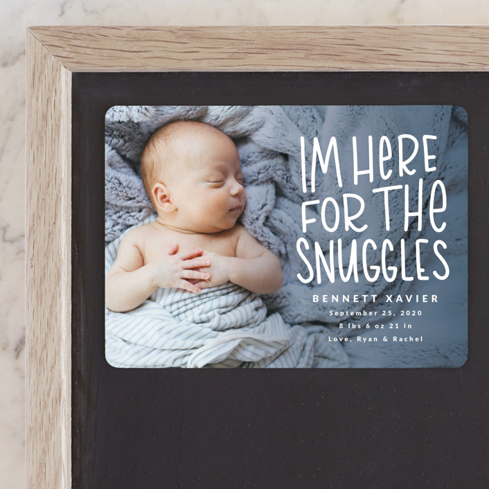 """Snuggles"" - Funny Birth Announcement Magnets in Dusty Blue by Mayflower Press."
