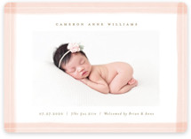 This is a pink birth announcement magnet by Michelle Taylor called trimmings with standard printing on magnet paper in magnet.