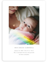 This is a colorful birth announcement magnet by Maria Hilas Louie called Rainbow Light with standard printing on magnet paper in magnet.
