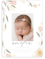 This is a pink birth announcement magnet by Robert and Stella called Fresh Florals with standard printing on magnet paper in magnet.