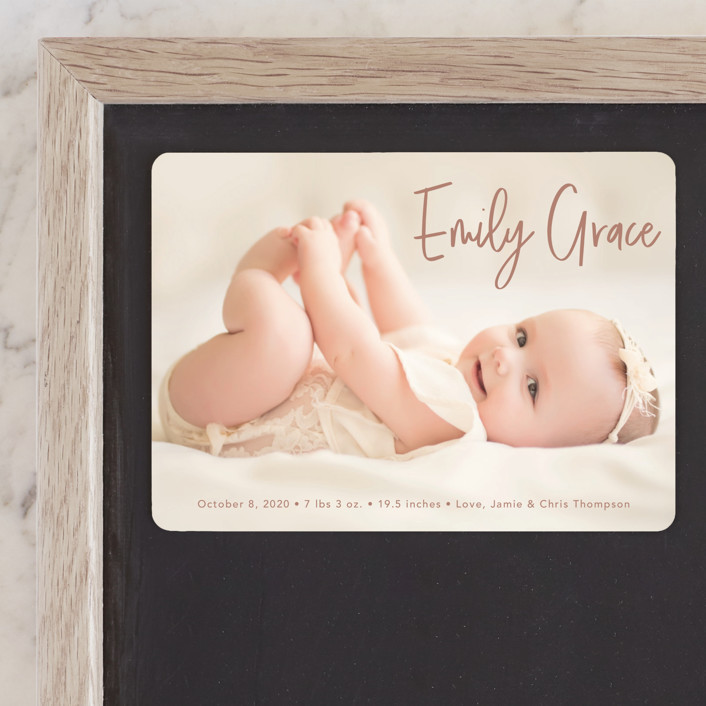 """Elegance in the name"" - Modern Birth Announcement Magnets in Dusty Rose by Lorena Depante."