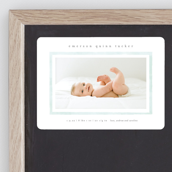 """""""Golightly"""" - Birth Announcement Magnets in Mint by Lauren Chism."""