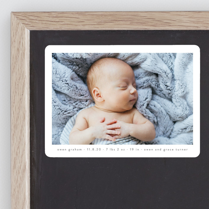 """""""Basic"""" - Birth Announcement Magnets in Onyx by Lauren Chism."""