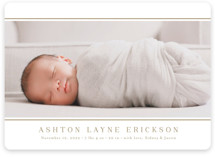 This is a brown birth announcement magnet by Jessica Williams called Lined with standard printing on magnet paper in magnet.