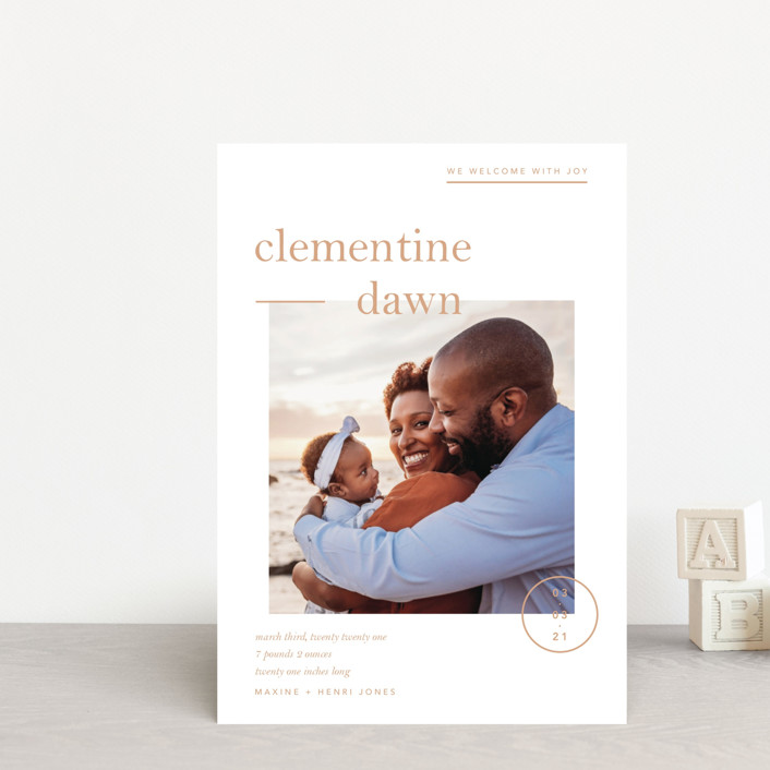 """Clementine"" - Preppy Birth Announcement Postcards in Peach by Blustery August."