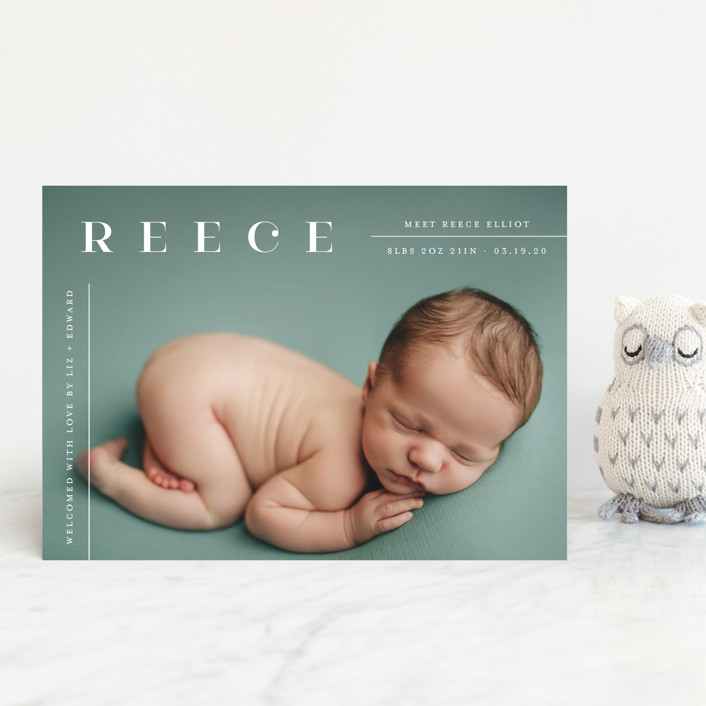 """""""Tiny Sophisticated"""" - Modern Birth Announcement Postcards in Cotton by Carolyn MacLaren."""