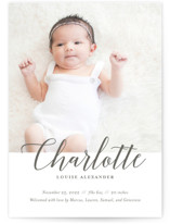 This is a grey birth announcement postcard by Genna Cowsert called Big Script with standard printing on signature in postcard.