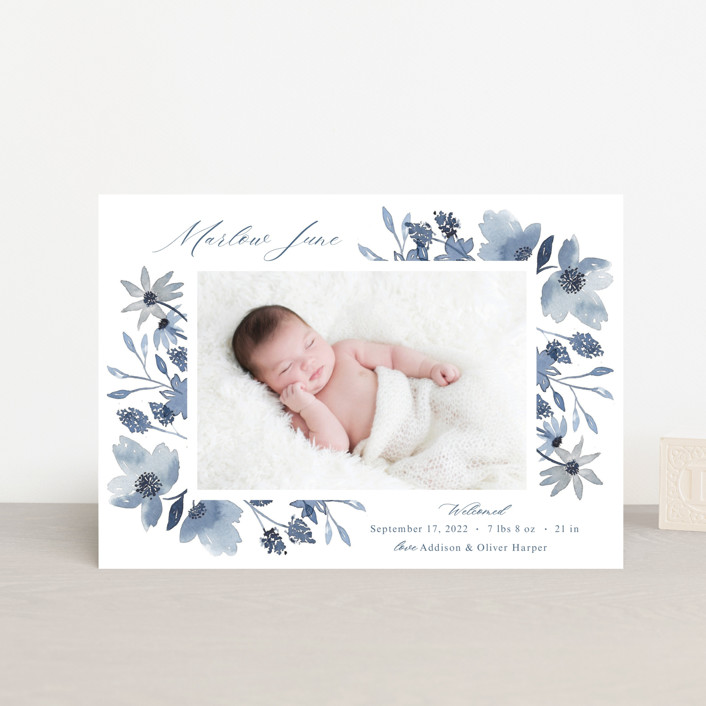 """Dusty Floral"" - Birth Announcement Postcards in Blueberry by Mayflower Press."