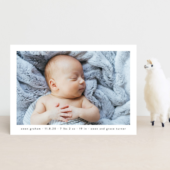 """""""Basic"""" - Birth Announcement Postcards in Onyx by Lauren Chism."""