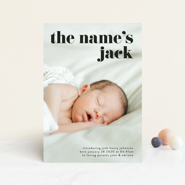 """""""the name"""" - Funny, Modern Birth Announcement Postcards in Noir by Phrosne Ras."""