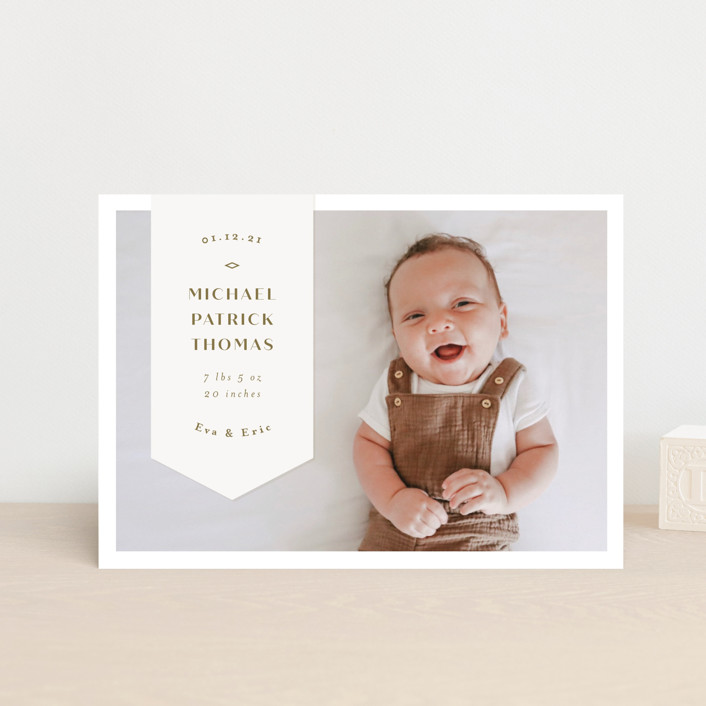 """""""Pennant"""" - Preppy Birth Announcement Postcards in Olive by Anastasia Makarova."""