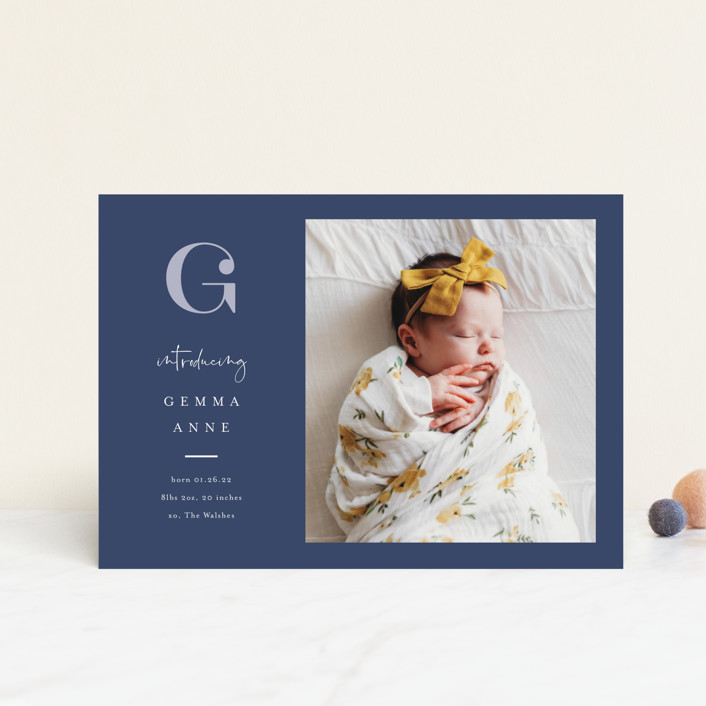 """""""Initial Love"""" - Preppy Birth Announcement Postcards in Gray by Carolyn MacLaren."""