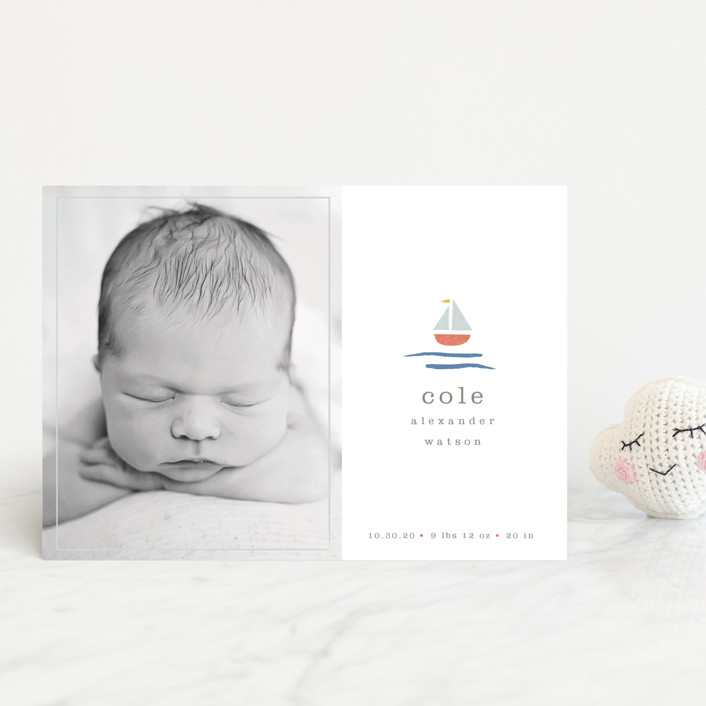 """sailor"" - Preppy Birth Announcement Postcards in Marina by Shannon Hays."