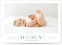 This is a blue birth announcement postcard by Shirley Lin Schneider called Modern Chic with standard printing on signature in postcard.