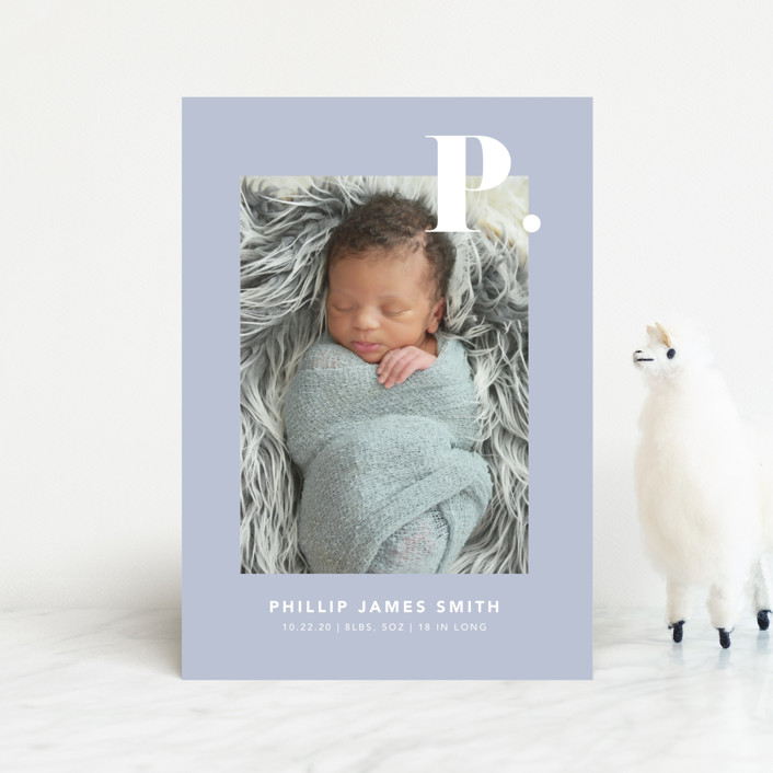 """""""Bold Capital"""" - Preppy Birth Announcement Postcards in Periwinkle by Kristen Smith."""