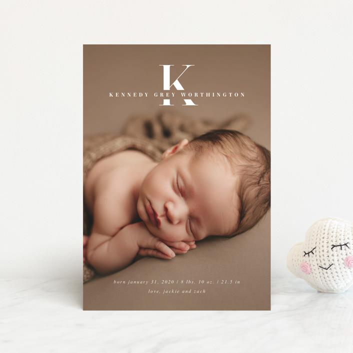 """""""My Monogram"""" - Birth Announcement Postcards in Milk by fatfatin."""