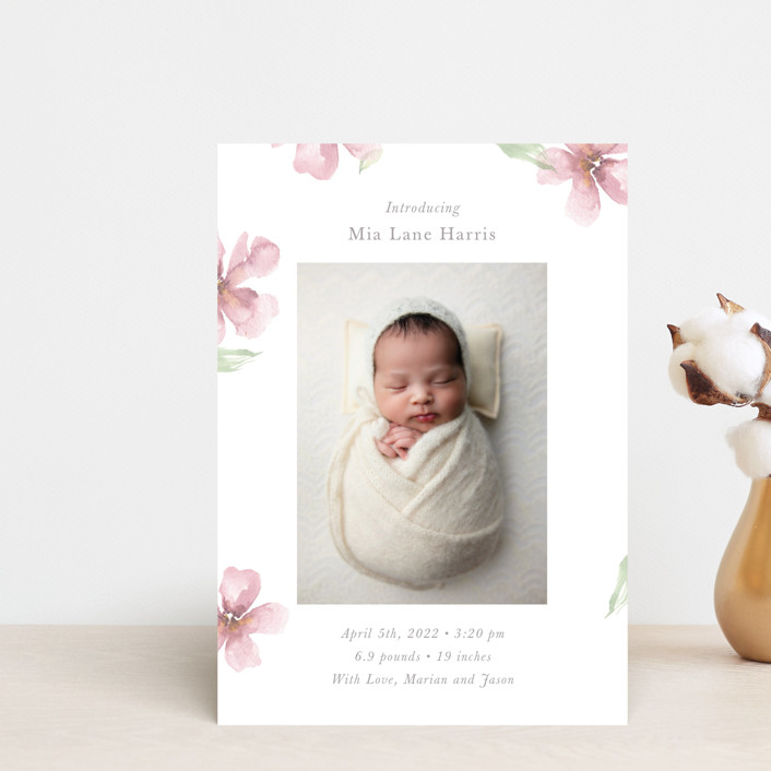 """Flower Petals"" - Birth Announcement Postcards in Petals by Melinda Denison."