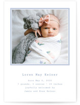 This is a blue birth announcement postcard by Toast & Laurel called Editor with standard printing on signature in postcard.