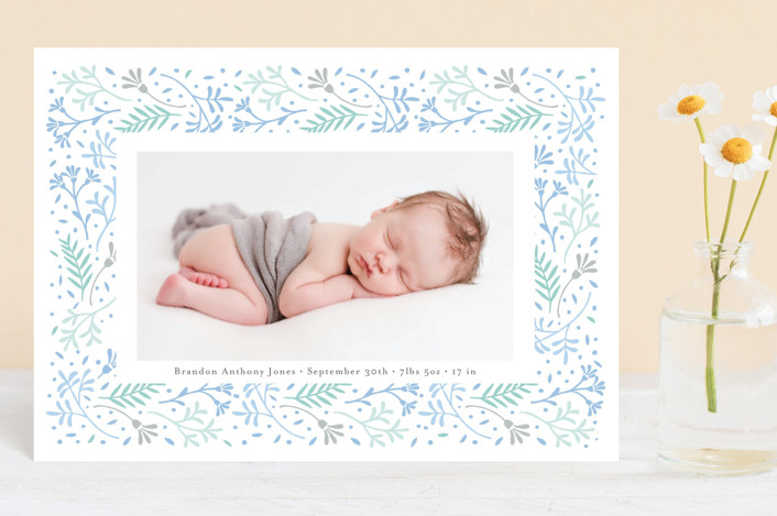 """""""Floral Love"""" - Birth Announcement Postcards in Baby Blue by frau brandt."""