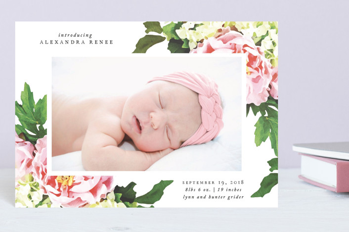 """""""Vintage Rose"""" - Birth Announcement Postcards in Burnt Rose by That Girl Press."""