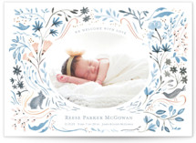 This is a blue birth announcement postcard by Morgan Ramberg called Bunny and Birds with standard printing on signature in postcard.