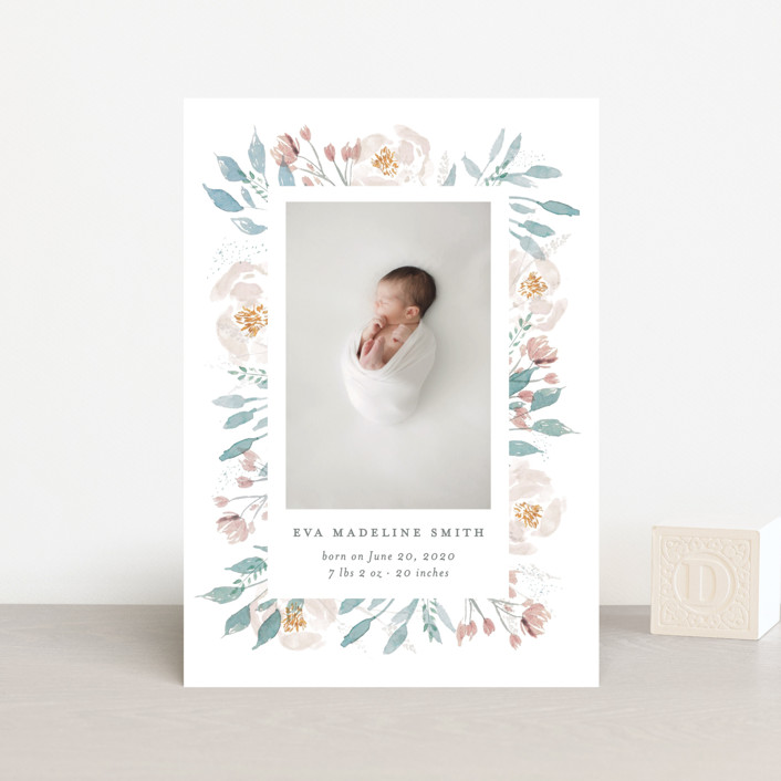 """Baby Bloom"" - Birth Announcement Postcards in Periwinkle by Bonjour Paper."