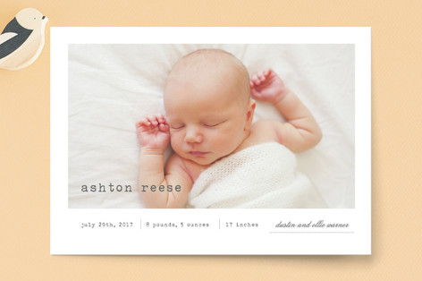 On Display Birth Announcement Postcards