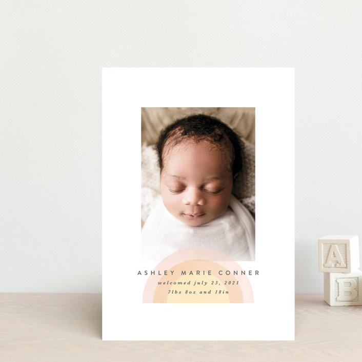 """our rainbow"" - Modern Birth Announcement Postcards in Rose by Angela Garrick."