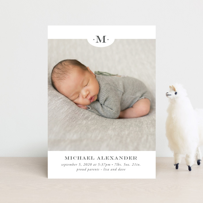 """""""Classic Monogram"""" - Preppy Birth Announcement Postcards in Charcoal by Beth Schneider."""