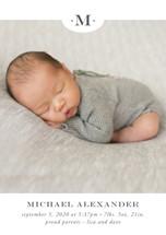 Classic Monogram Birth Announcement Postcards