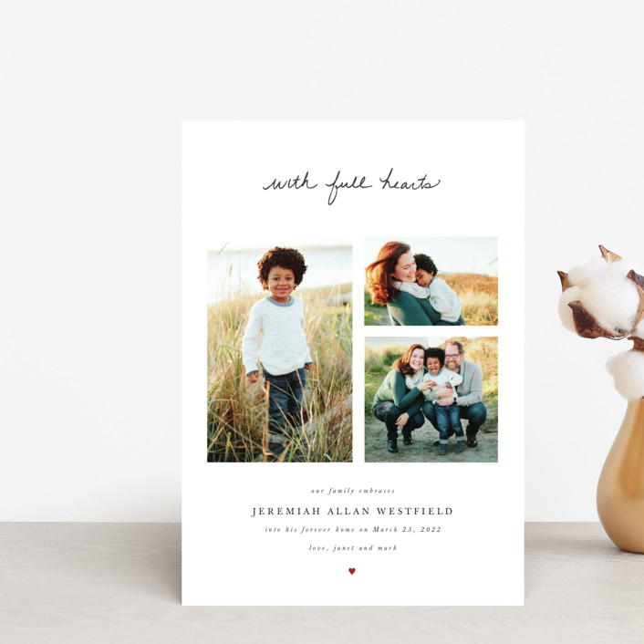 """With Full Hearts"" - Birth Announcement Postcards in Charcoal by Basil Design Studio."