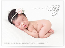 This is a brown birth announcement postcard by Olivia Raufman called Nickname Intro with standard printing on signature in postcard.