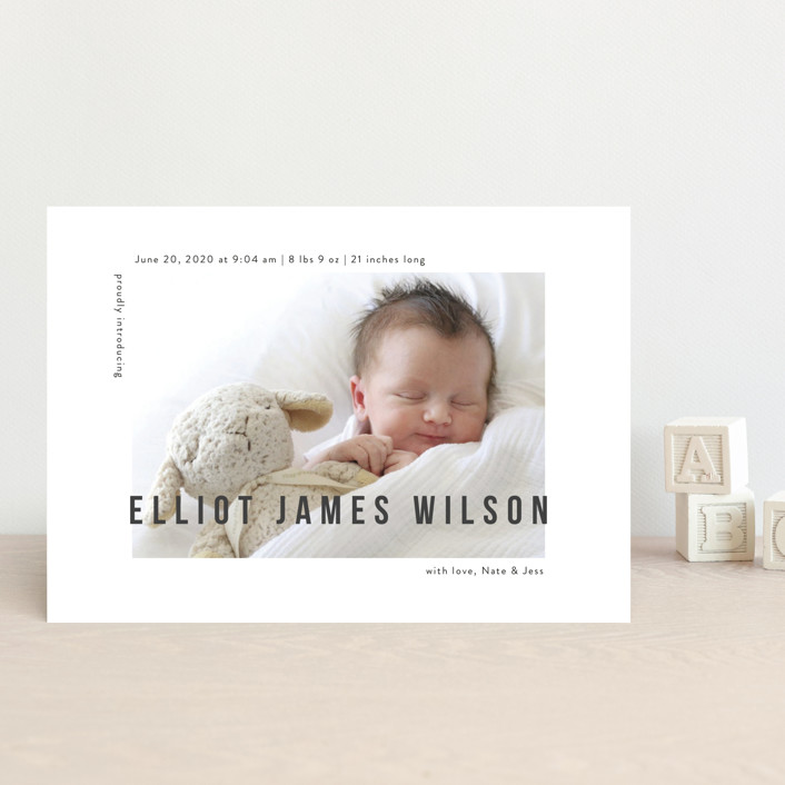 """Pure Love"" - Modern Birth Announcement Postcards in Slate by Kasia Labocki."