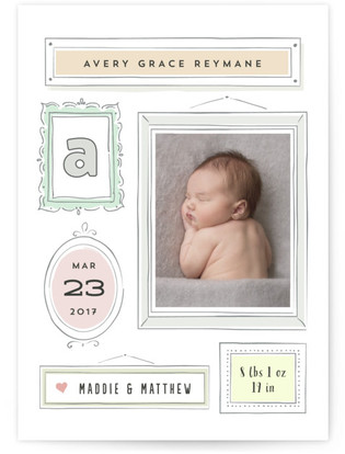 Marzipan Birth Announcement Postcards