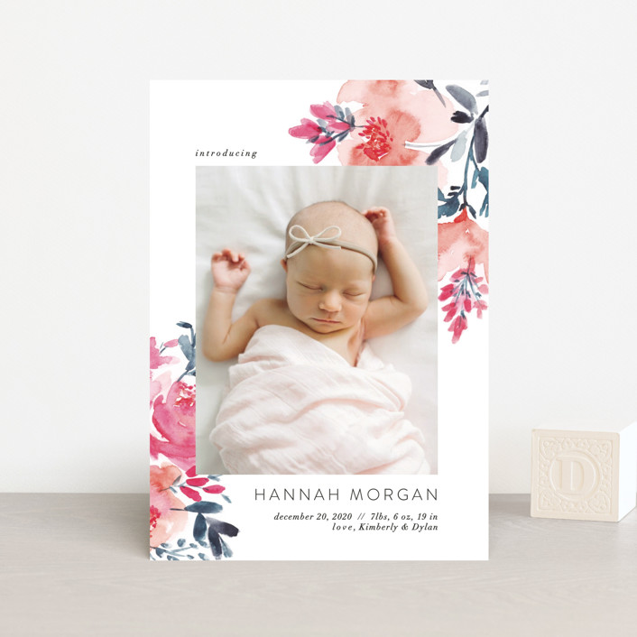 """""""Gentle Bouquet"""" - Birth Announcement Postcards in Coquelicot by Petra Kern."""
