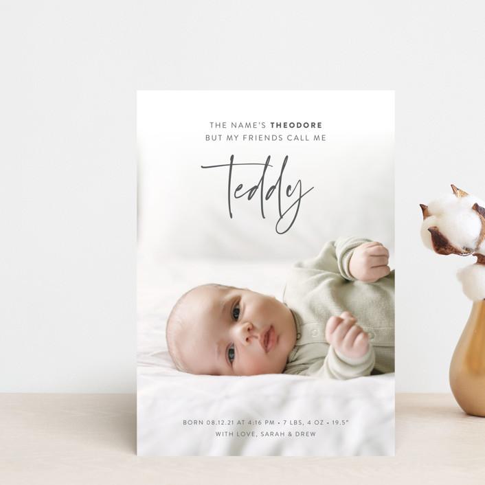 """My Nickname"" - Birth Announcement Postcards in Shadow by Carolyn Kach."