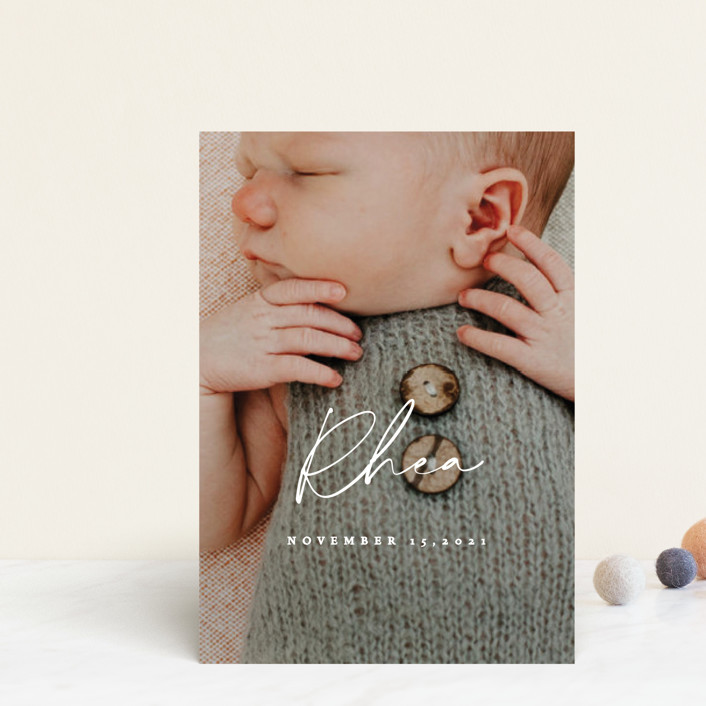 """""""Simplest"""" - Birth Announcement Postcards in Petal by Rebecca Daublin."""