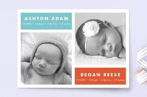 Modern Multiples Birth Announcement Postcards