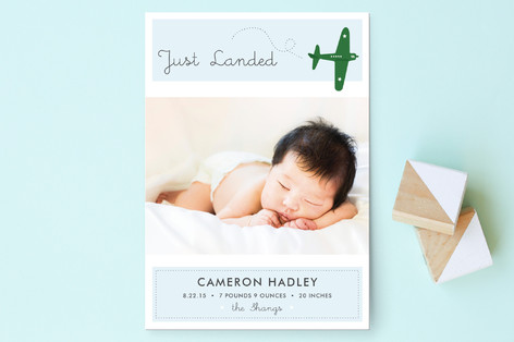 Fly By Baby Birth Announcement Postcards